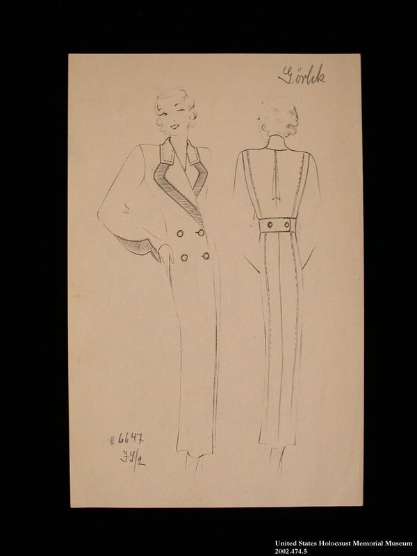 Coat design, Görlik, created by a German Jewish man and saved by his wife in hiding