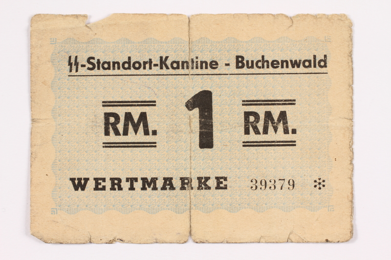 2003.358.1 front Buchenwald Standort-Kantine concentration camp scrip, 1 Reichsmark