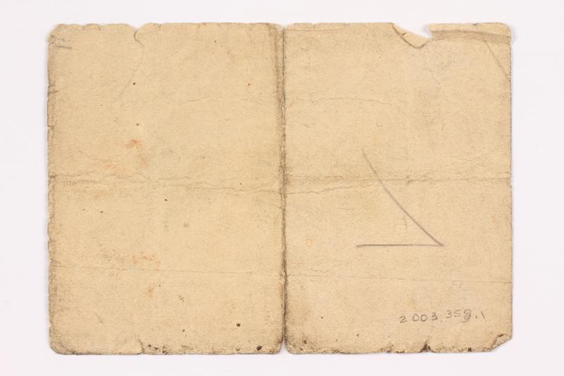 2003.358.1 back Buchenwald Standort-Kantine concentration camp scrip, 1 Reichsmark