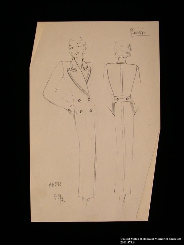 Coat design, Turin, created by a German Jewish man and saved by his wife in hiding