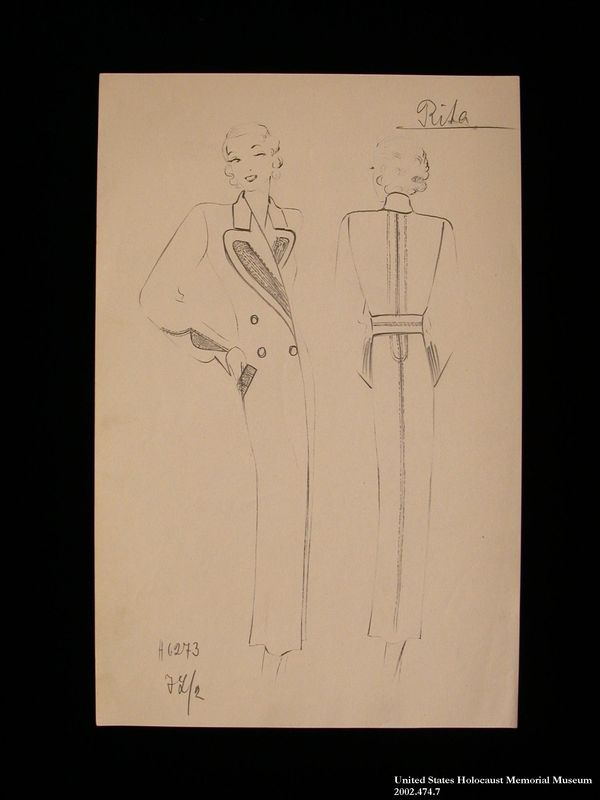 Coat design, Rita, created by a German Jewish man and saved by his wife in hiding