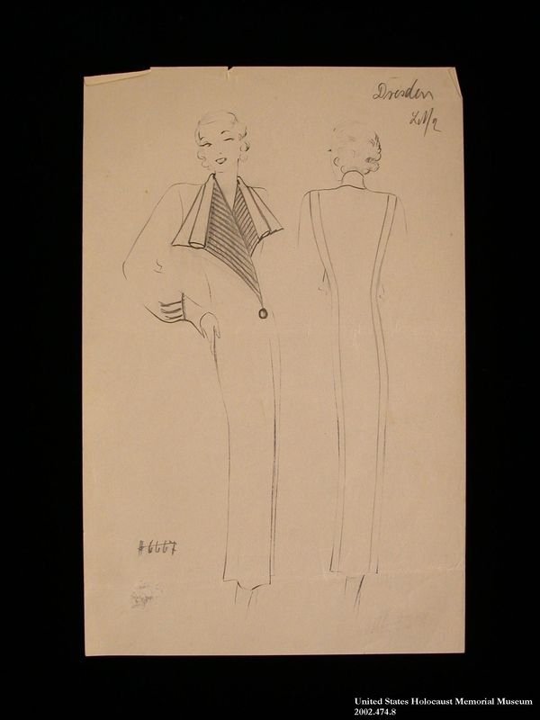 Coat design, Dresden, created by a German Jewish man and saved by his wife in hiding