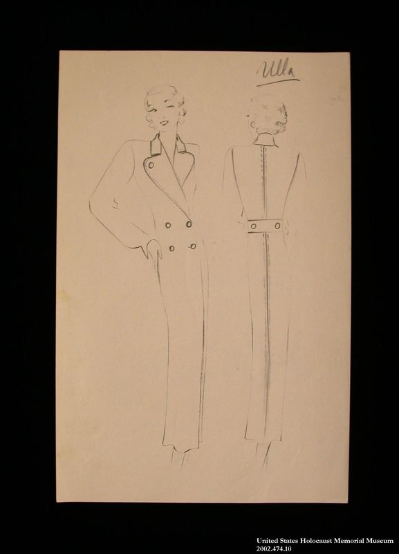 Coat design, Ulla, created by a German Jewish man and saved by his wife in hiding