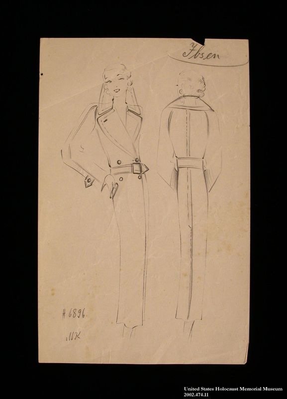 Coat design, Ibsen, created by a German Jewish man and saved by his wife in hiding