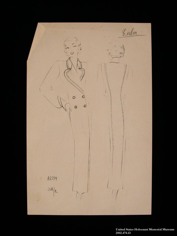 Coat design, Culm, created by a German Jewish man and saved by his wife in hiding