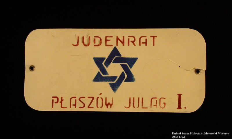 Armband stenciled Judenrat worn in the Plaszow labor camp