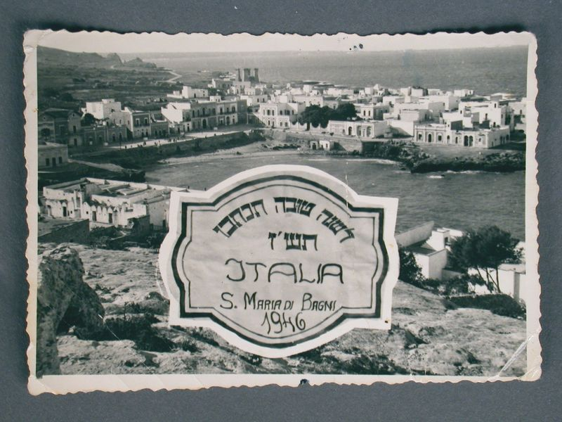 2003.174.6 front Rosh Hashanah card with a photo of an Italian seaport received by newlyweds in Neu Freimann dp camp