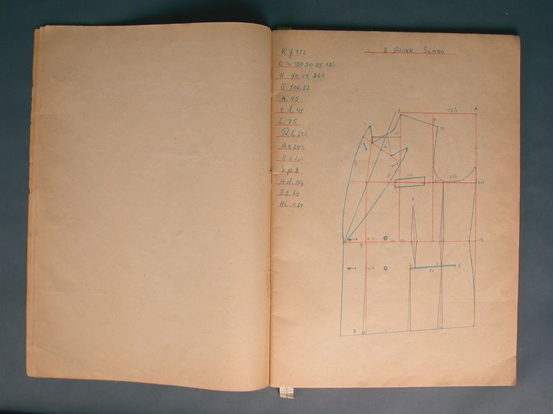 2003.174.7 front Workbook of clothing patterns drawn by a Jewish refugee for an ORT class