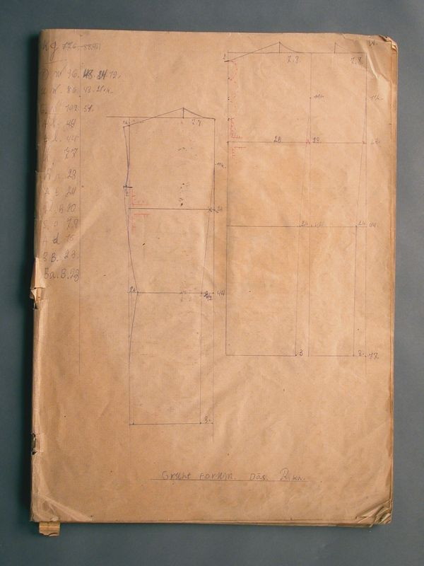 2003.174.8 front Workbook of clothing patterns drawn by a Jewish refugee for an ORT class