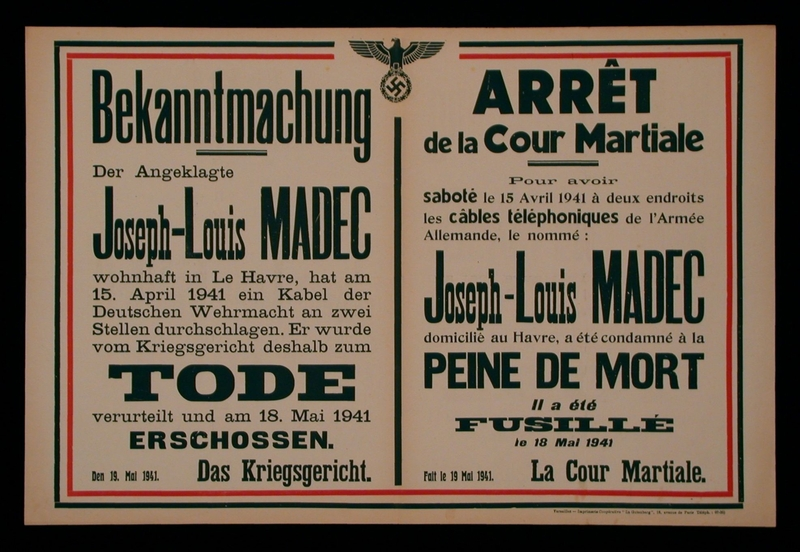 2003.189.5 front Broadside announcing the execution of Jean-Louis Madec for sabotage in German occupied France
