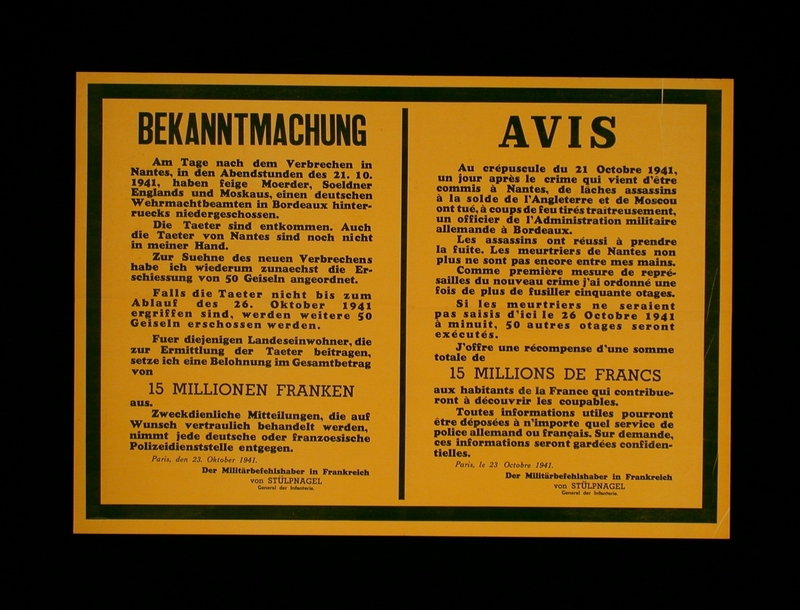 2003.189.7 front Text only poster annoucing the execution of French hostages by the German occupation authorities