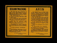 2003.189.7 front Text only poster annoucing the execution of French hostages by the German occupation authorities  Click to enlarge