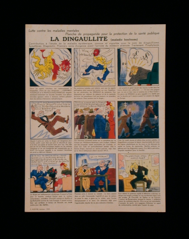 2003.189.9 front French propaganda poster mocking supporters of Charles de Gaulle