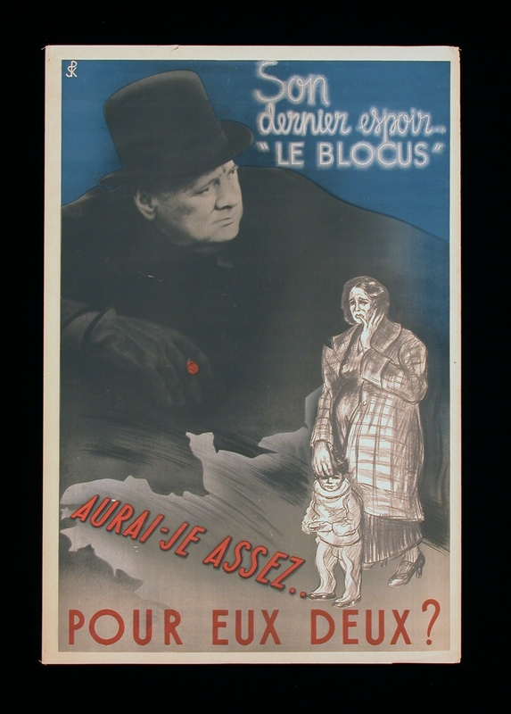 2003.189.11 front Anti-British propaganda poster featuring Winston Churchill looming above a mother and child