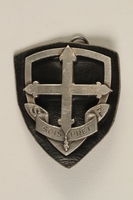 2003.191.2 front Eclaireuses et Eclaireurs Unionistes de France badge with fleur de lis cross  Click to enlarge