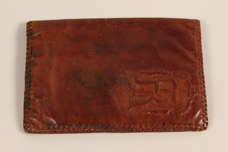 2003.198.2 front FK monogrammed leather document case made by a Jewish Hungarian woman