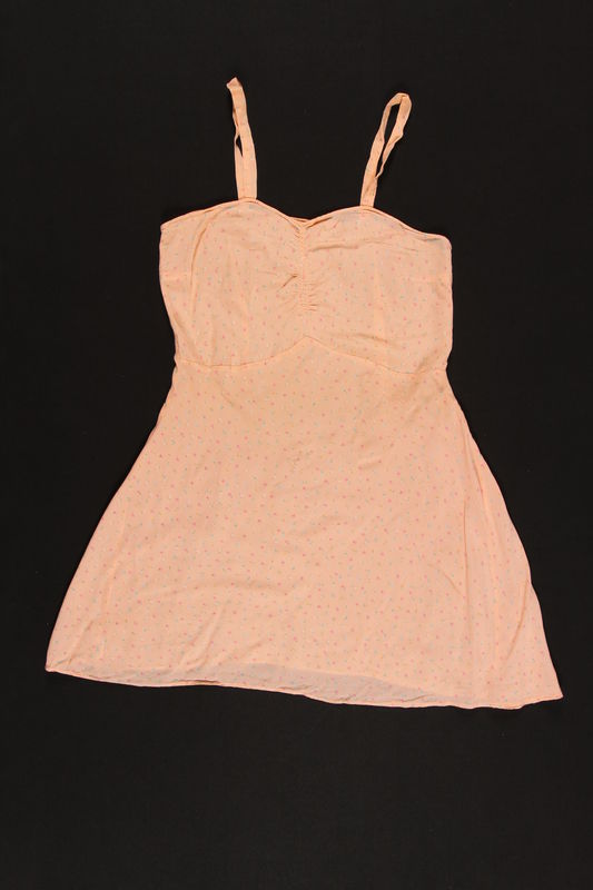 2003.198.6 front Peach floral printed chemise saved by a Hungarian Jewish refugee