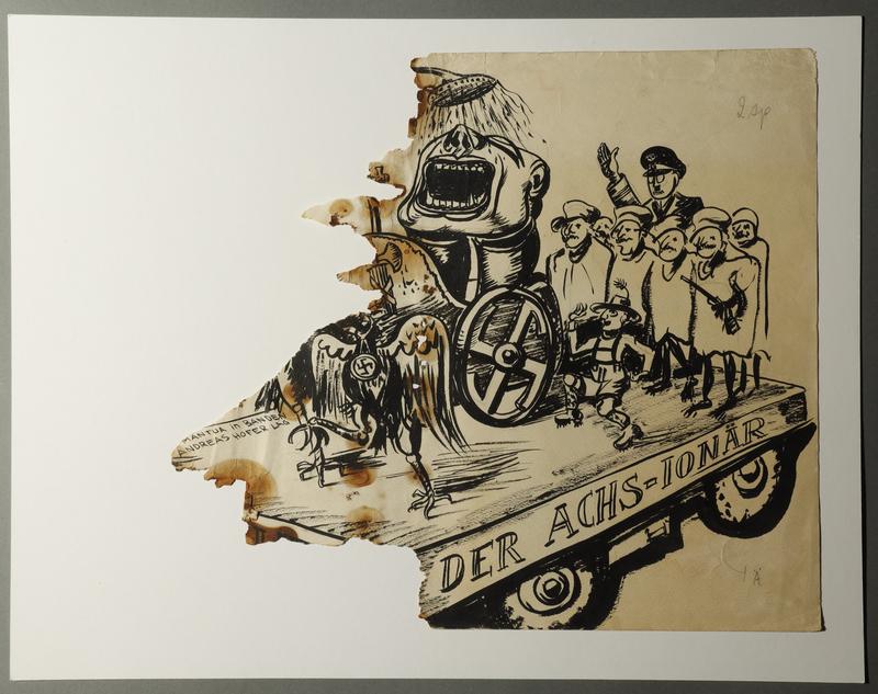 1988.5.1 front Karl Schwesig political cartoon mocking a Nazi parade