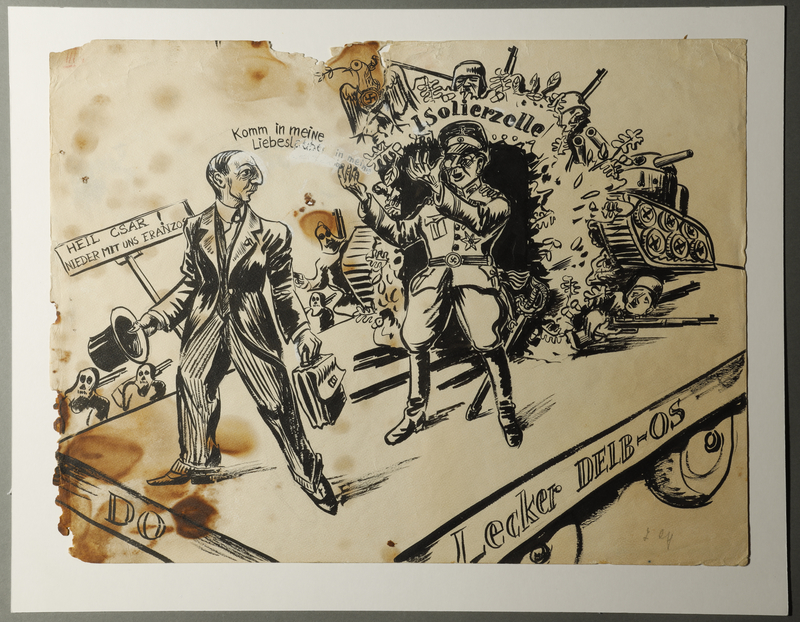 1988.5.3 front Drawing by Karl Schwesig satirizing the embrace of Fascism in France