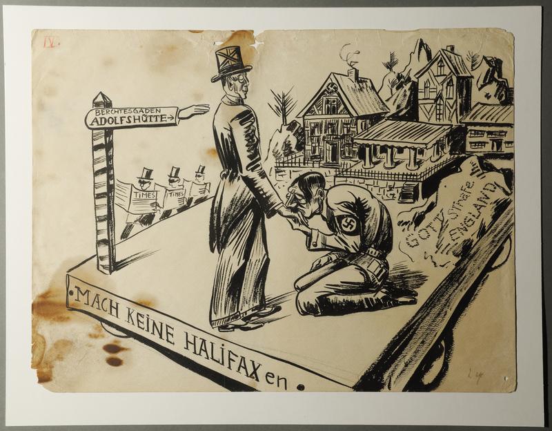 1988.5.4 front Satirical drawing by Karl Schwesig depicting Hitler greeting a British diplomat