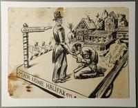 1988.5.4 front Satirical drawing by Karl Schwesig depicting Hitler greeting a British diplomat  Click to enlarge