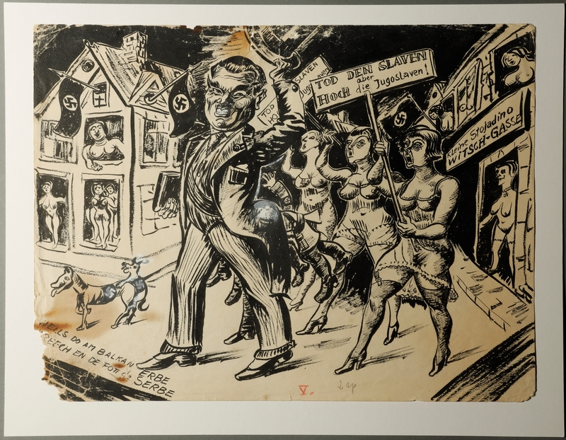 1988.5.5 front Satirical drawing by Karl Schwesig depicting the subjugation of Yugoslavia to Nazi Germany