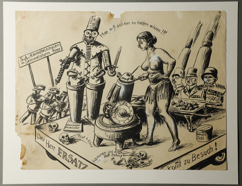 1988.5.6 front Satirical drawing by Karl Schwesig depicting Nazi followers as robots