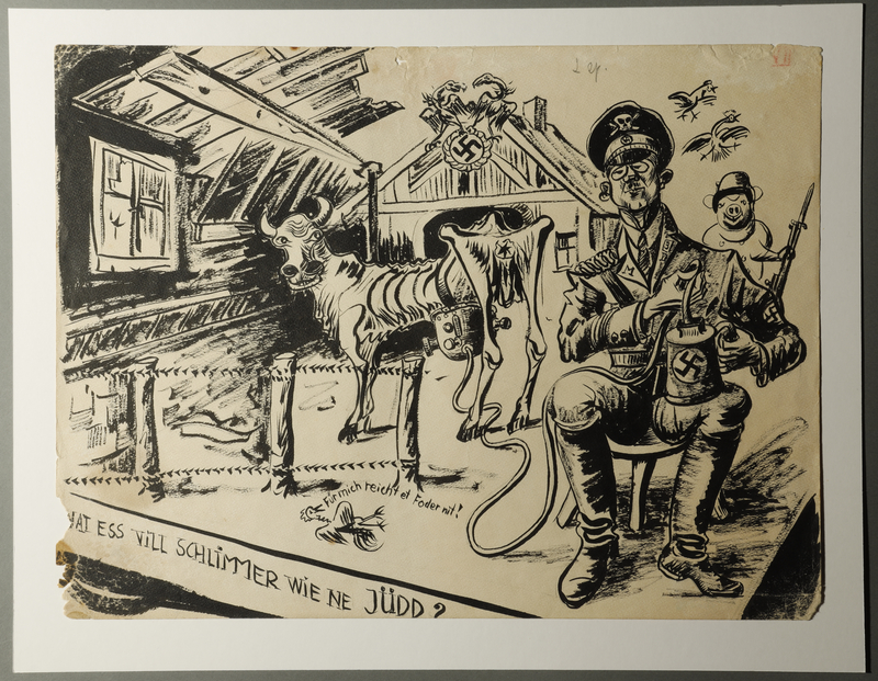 1988.5.7 front Satirical drawing by Karl Schwesig depicting Nazi soldiers as pigs