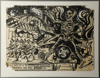 1988.5.8 front Pencil and ink drawing by Karl Schwesig depicting a skeletal Hitler atop an airplane  Click to enlarge