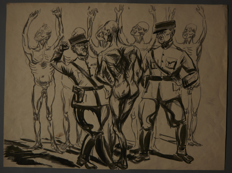 1988.5.12 front Drawing created by Karl Schwesig postwar depicting a beating he witnessed in a concentration camp