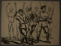 1988.5.12 front Drawing created by Karl Schwesig postwar depicting a beating he witnessed in a concentration camp  Click to enlarge