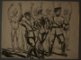 Drawing created by Karl Schwesig postwar depicting a beating he witnessed in a concentration camp