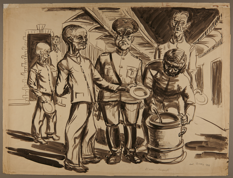 1988.5.14 front Watercolor created by Karl Schwesig with a scene of soldiers and inmates in a concentration camp