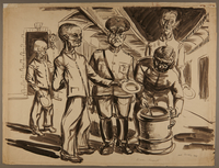 1988.5.14 front Watercolor created by Karl Schwesig with a scene of soldiers and inmates in a concentration camp  Click to enlarge
