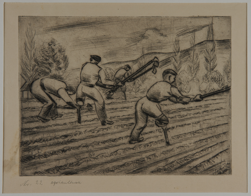 1988.5.18 front Etching by Karl Schwesig of 3 inmates at work under an armed guard in a prison camp