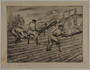 Etching by Karl Schwesig of 3 inmates at work under an armed guard in a prison camp