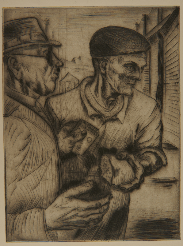 1988.5.16 front Etching by Karl Schwesig showing inmates bartering bread and cigarettes in a concentration camp