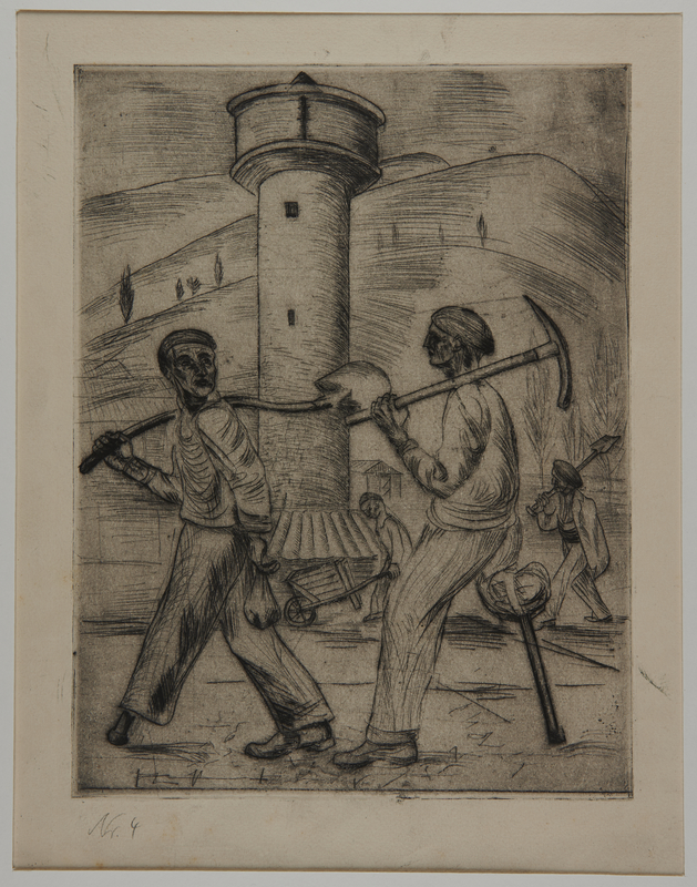 1988.5.17 front Etching by Karl Schwesig showing one legged inmates going to work in a concentration camp