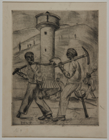 1988.5.17 front Etching by Karl Schwesig showing one legged inmates going to work in a concentration camp  Click to enlarge