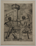 Etching by Karl Schwesig showing one legged inmates going to work in a concentration camp