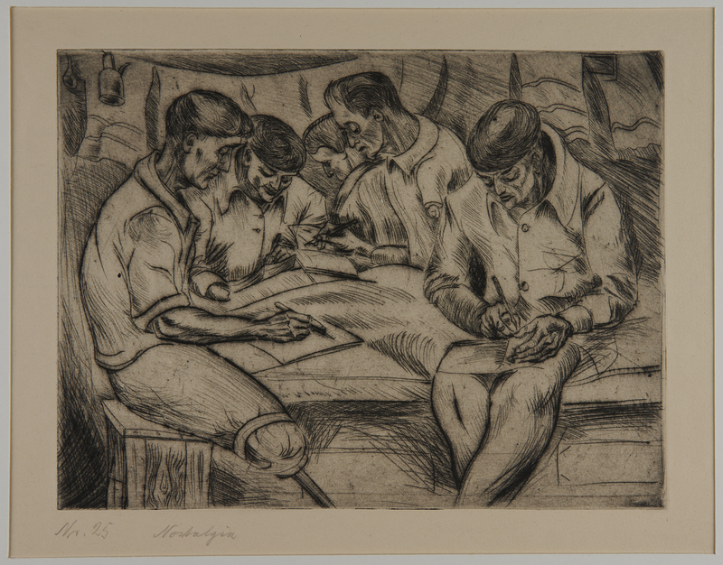 1988.5.19 front Etching by Karl Schwesig showing a fellow prisoner writing in a concentration camp