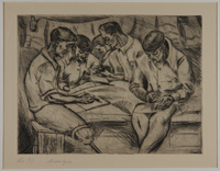 1988.5.19 front Etching by Karl Schwesig showing a fellow prisoner writing in a concentration camp  Click to enlarge