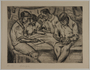 Etching by Karl Schwesig showing a fellow prisoner writing in a concentration camp