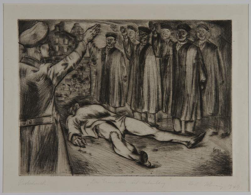 1988.5.20 front Satirical etching by Karl Schwesig showing men in academic robes saluting a corpse