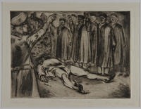 1988.5.20 front Satirical etching by Karl Schwesig showing men in academic robes saluting a corpse  Click to enlarge