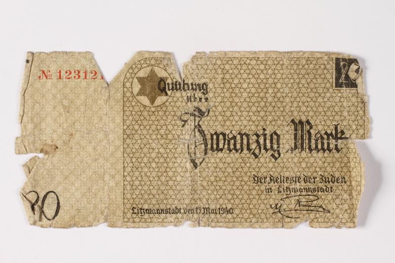 1987.90.1 front Łódź (Litzmannstadt) ghetto scrip, 20 mark note