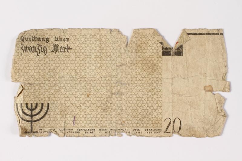 1987.90.1 back Łódź (Litzmannstadt) ghetto scrip, 20 mark note