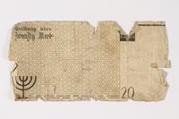 1987.90.1 back Łódź (Litzmannstadt) ghetto scrip, 20 mark note  Click to enlarge