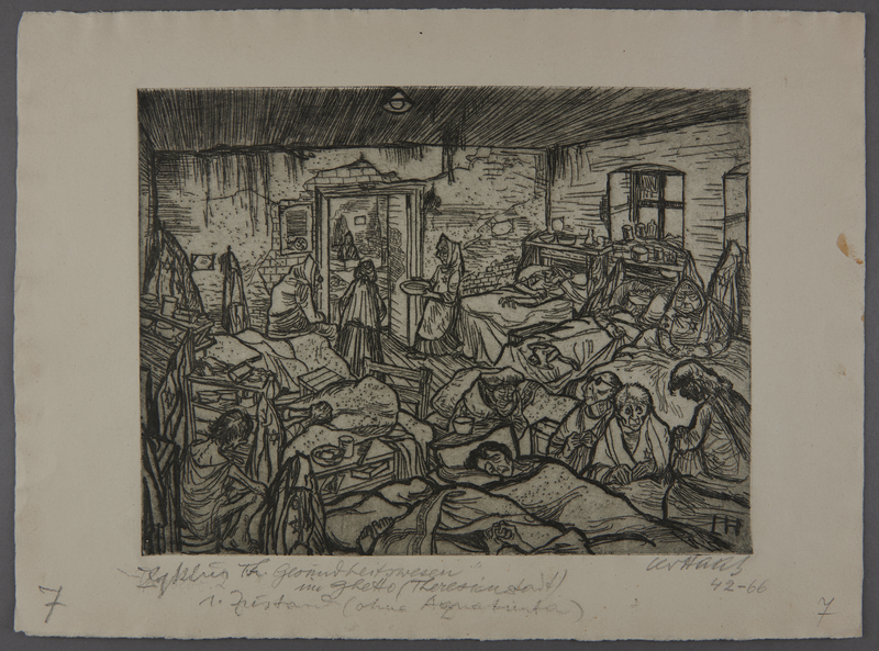 2003.202.3 front Leo Haas aquatint of a room overcrowded with ill inmates