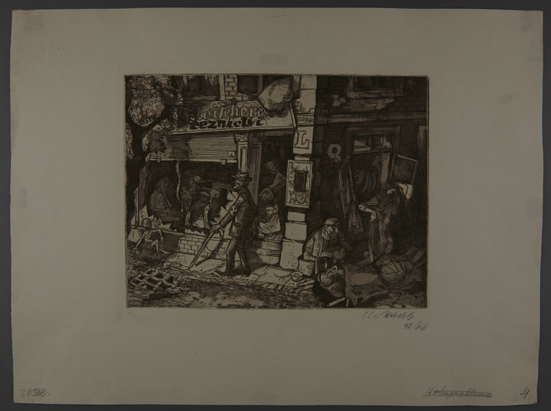 2003.202.5 front Leo Haas aquatint of frail sickly people on a ghetto street corner